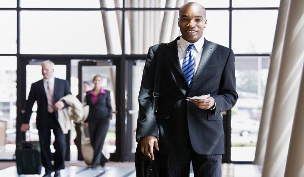 A business traveller at an airport