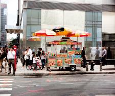 A hotdog stand in New York