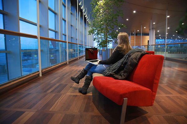 Relax at an airport lounge