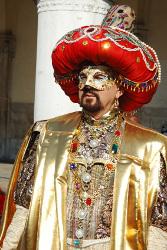 Reveller in costume at Baklahorani