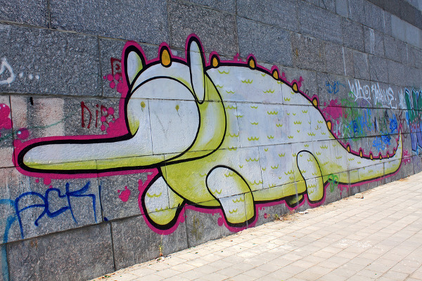 Adorable graffiti monster
