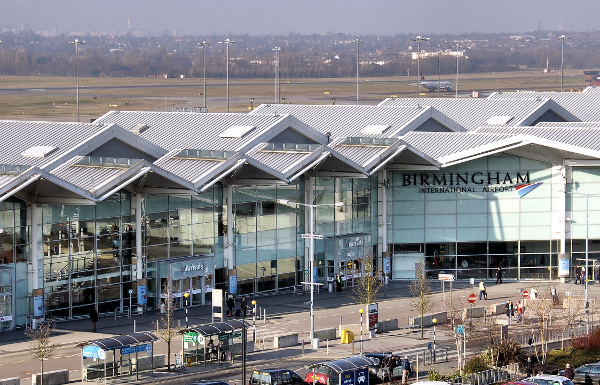 The front of Birmingham Airport, where over 9 million passengers travel through each year