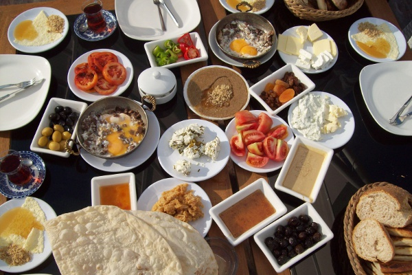 Breakfast spread in Turkey