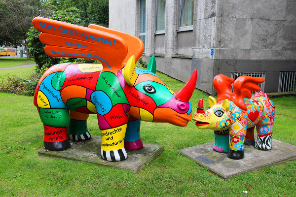 Colourful rhino statues
