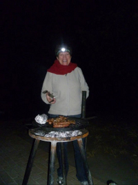 Ann-Marie braaing in Kruger National Park