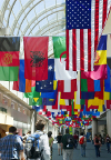 flags of the world hanging from ceiling