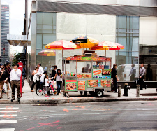 A hotdog stand in New York