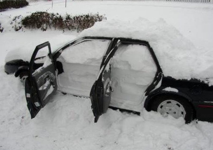 Snow in car