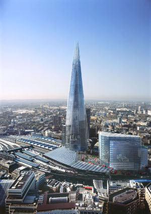 Aerial shot of The Shard