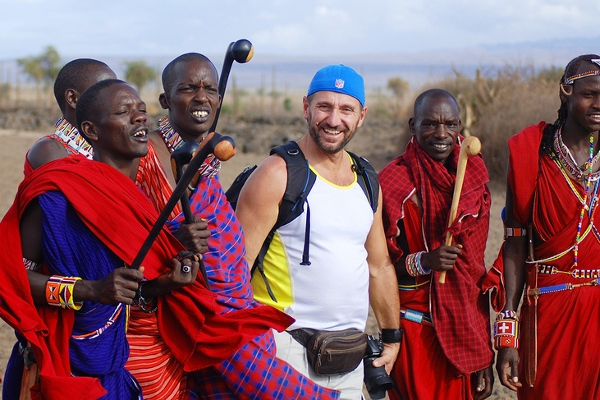 Tourist With Masai Tribe