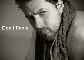 Don't Panic man with Towel