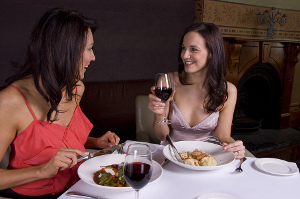 Women eating at restaurant
