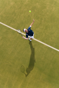 Aerial shot of player serving