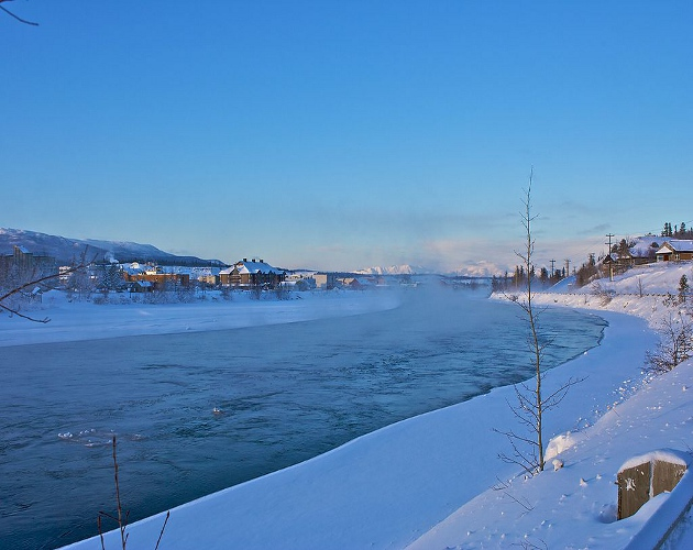 The  icy waters of the Yukon River