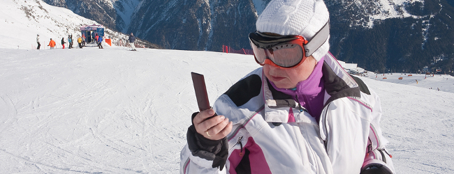 Mobile Phones On The Slopes Technology While Skiing Or
