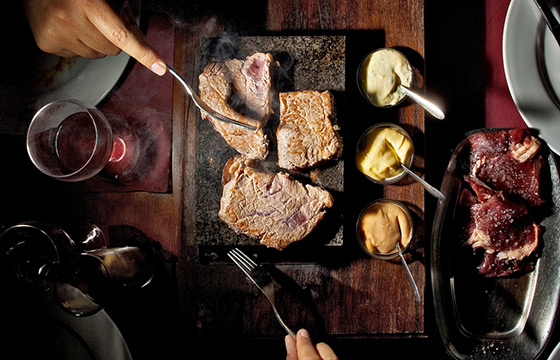 Hot Stone Steak at Cowshed Bar and Grill