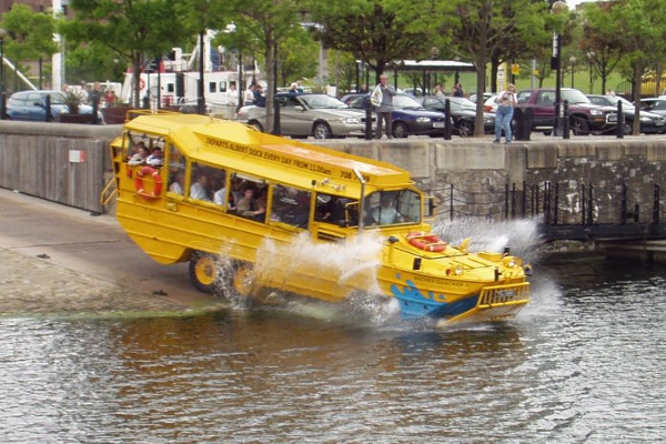 The Yellow Duckmarine is amphibious