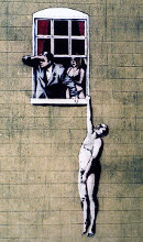 Naked Man street art by Banksy