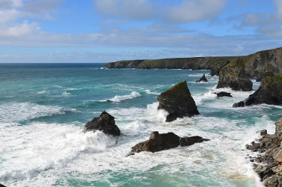 Bedruthan Steps on the coast