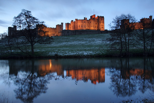 Night view of Alnwick Castle