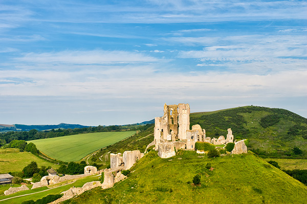 Aeriel view of Corfe Castle
