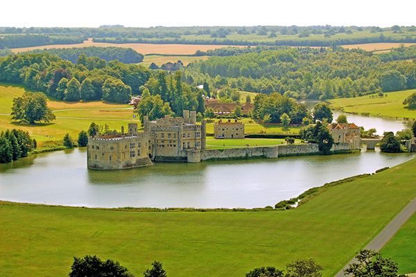 Aerial view of Leeds Castle with lake