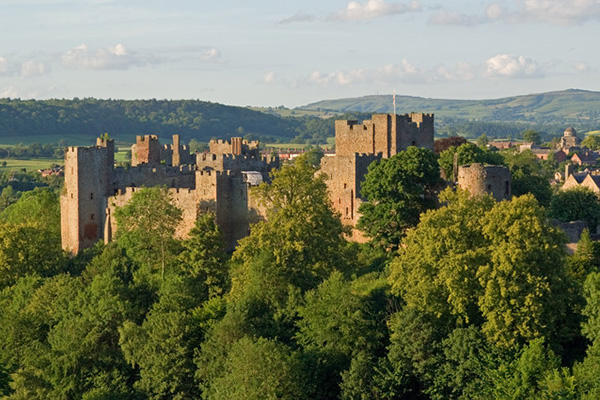 Ludlow Castle with cityscape