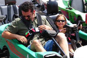 Father and daughter in go-kart