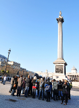 A tour group on a walking tour in London