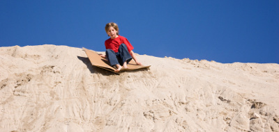 Sand Boarding Using Cardboard