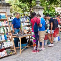 Tourists browsing stalls