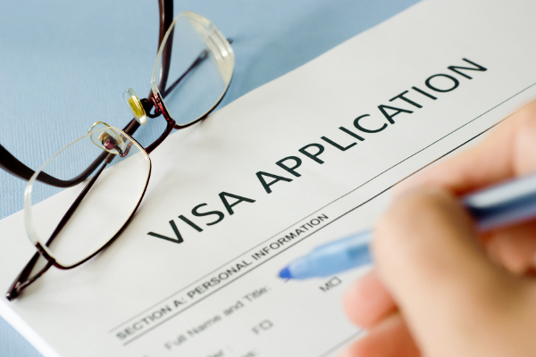 Filling in a visa application